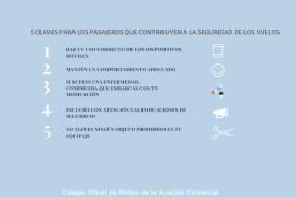 Cinco sencillas claves para los pasajeros que contribuyen a la seguridad de los vuelos